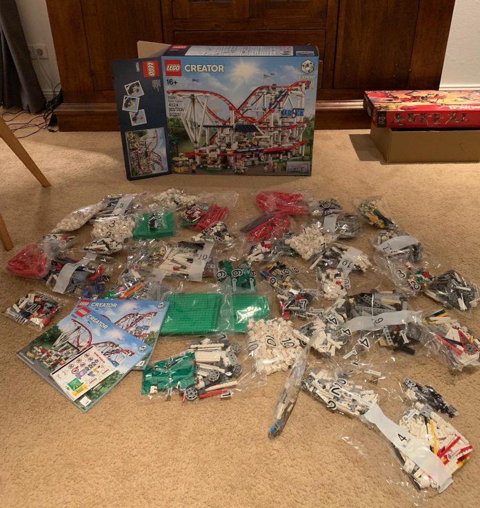 So viele Tüten bei der Lego Creator Achterbahn